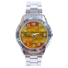 Classic Color Bricks Gradient Wall Stainless Steel Analogue Watch