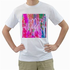 Watercolour Heartbeat Monitor Men s T-Shirt (White) (Two Sided)