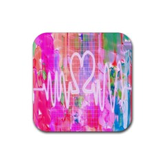 Watercolour Heartbeat Monitor Rubber Square Coaster (4 pack)
