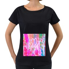 Watercolour Heartbeat Monitor Women s Loose Fit T Shirt (black)