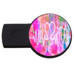 Watercolour Heartbeat Monitor USB Flash Drive Round (4 GB)