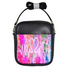 Watercolour Heartbeat Monitor Girls Sling Bags