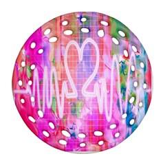 Watercolour Heartbeat Monitor Ornament (round Filigree)