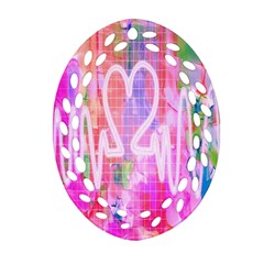 Watercolour Heartbeat Monitor Oval Filigree Ornament (Two Sides)