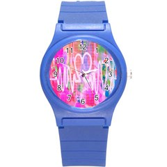 Watercolour Heartbeat Monitor Round Plastic Sport Watch (S)