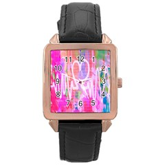 Watercolour Heartbeat Monitor Rose Gold Leather Watch