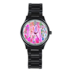 Watercolour Heartbeat Monitor Stainless Steel Round Watch