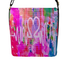 Watercolour Heartbeat Monitor Flap Messenger Bag (L)