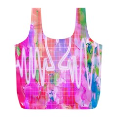 Watercolour Heartbeat Monitor Full Print Recycle Bags (L)