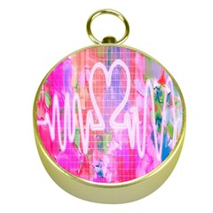 Watercolour Heartbeat Monitor Gold Compasses