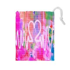 Watercolour Heartbeat Monitor Drawstring Pouches (Large)