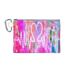 Watercolour Heartbeat Monitor Canvas Cosmetic Bag (M)