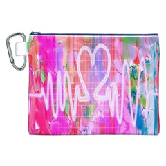 Watercolour Heartbeat Monitor Canvas Cosmetic Bag (xxl)