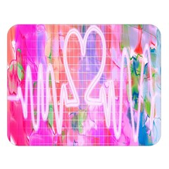 Watercolour Heartbeat Monitor Double Sided Flano Blanket (large)