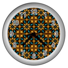Abstract Daisies Wall Clocks (silver)