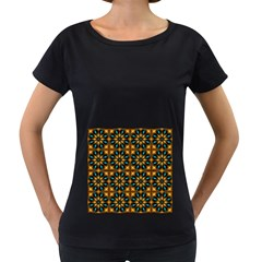 Abstract Daisies Women s Loose Fit T Shirt (black)