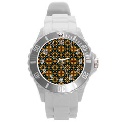 Abstract Daisies Round Plastic Sport Watch (L)