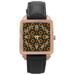 Abstract Daisies Rose Gold Leather Watch