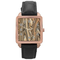Abstract Background Design Rose Gold Leather Watch