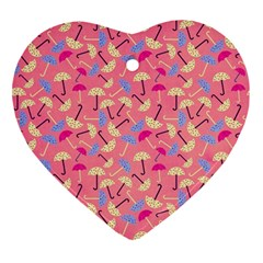 Umbrella Seamless Pattern Pink Ornament (Heart)