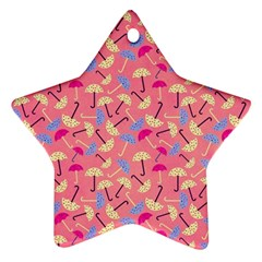 Umbrella Seamless Pattern Pink Ornament (Star)