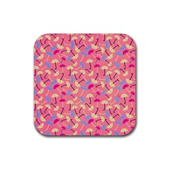 Umbrella Seamless Pattern Pink Rubber Square Coaster (4 Pack)