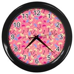 Umbrella Seamless Pattern Pink Wall Clocks (Black)