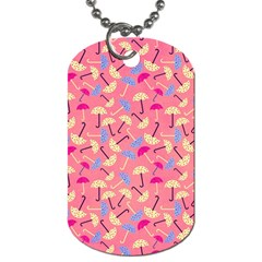 Umbrella Seamless Pattern Pink Dog Tag (one Side)