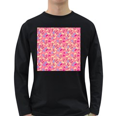 Umbrella Seamless Pattern Pink Long Sleeve Dark T-Shirts