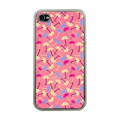 Umbrella Seamless Pattern Pink Apple iPhone 4 Case (Clear)
