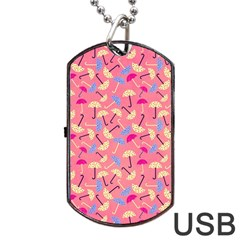 Umbrella Seamless Pattern Pink Dog Tag USB Flash (Two Sides)
