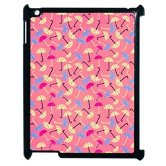 Umbrella Seamless Pattern Pink Apple iPad 2 Case (Black)