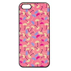 Umbrella Seamless Pattern Pink Apple iPhone 5 Seamless Case (Black)