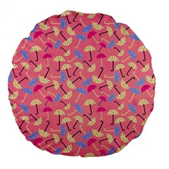 Umbrella Seamless Pattern Pink Large 18  Premium Round Cushions