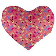 Umbrella Seamless Pattern Pink Large 19  Premium Heart Shape Cushions