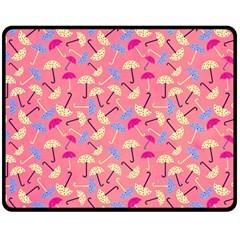 Umbrella Seamless Pattern Pink Double Sided Fleece Blanket (Medium)