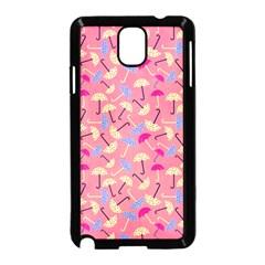 Umbrella Seamless Pattern Pink Samsung Galaxy Note 3 Neo Hardshell Case (Black)