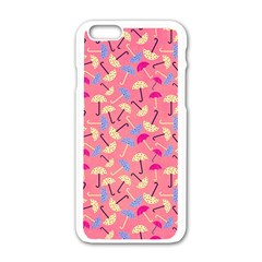 Umbrella Seamless Pattern Pink Apple iPhone 6/6S White Enamel Case