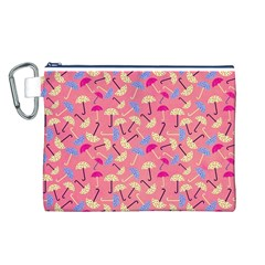 Umbrella Seamless Pattern Pink Canvas Cosmetic Bag (L)