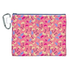 Umbrella Seamless Pattern Pink Canvas Cosmetic Bag (xxl)