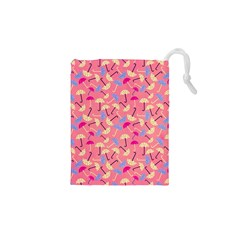 Umbrella Seamless Pattern Pink Drawstring Pouches (xs)