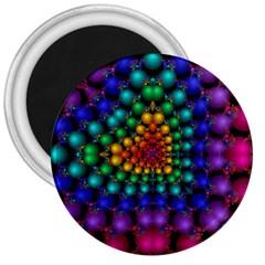 Mirror Fractal Balls On Black Background 3  Magnets