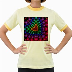 Mirror Fractal Balls On Black Background Women s Fitted Ringer T-Shirts
