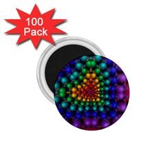 Mirror Fractal Balls On Black Background 1 75  Magnets (100 Pack)