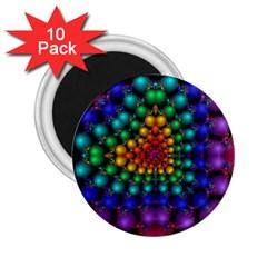 Mirror Fractal Balls On Black Background 2.25  Magnets (10 pack)