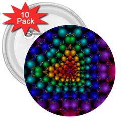Mirror Fractal Balls On Black Background 3  Buttons (10 Pack)