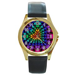 Mirror Fractal Balls On Black Background Round Gold Metal Watch