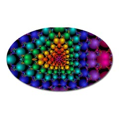 Mirror Fractal Balls On Black Background Oval Magnet
