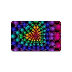Mirror Fractal Balls On Black Background Magnet (name Card)