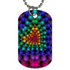 Mirror Fractal Balls On Black Background Dog Tag (two Sides)